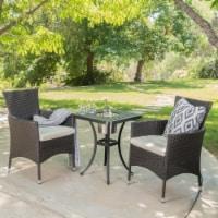 Ariel Outdoor 3Pc Wicker Bistro Set w/ Water Resistant Cushions - 1 unit