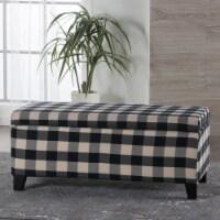 Brianna Black & White Checker Fabric Storage Ottoman