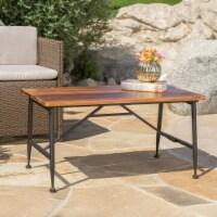 Ellaria Outdoor Rustic Industrial Acacia Wood Coffee Table with Metal Frame