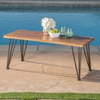 Zephyra Outdoor Rustic Finished Iron & Acacia Wood Coffee Table