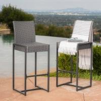 Conrad 30-Inch Outdoor Patio Gray Wicker Barstools - 1 unit
