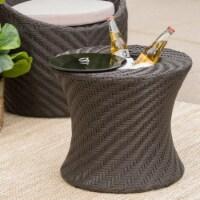 Belen Outdoor Brown Wicker Accent Table with Ice Bucket - 1 unit