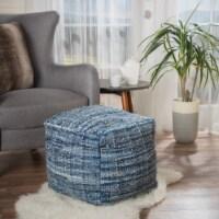 Harlow Hand Woven Denim Fabric Pouf - 1 unit