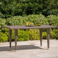 Dominguez Outdoor Mix Mocha Rectangular Wicker Dining Table - 1 unit