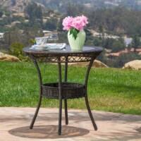 Paea Multi Brown PE 27-inch Glass Table - 1 unit