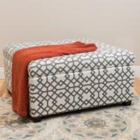 Estee Grey Geometric Patterned Fabric Storage Ottoman
