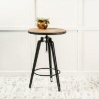 Velthur Contemporary Antique Color Firwood Swivel Bar Table