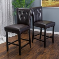 Pierre 27-Inch Brown Leather Counter Stool (Set of 2) - 1 unit