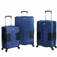 TACH V3 3 Piece Hard Shell Rolling Travel Suitcase Luggage Set, Midnight Blue - 1 Unit