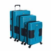 TACH V3 3 Piece Hard Shell Rolling Travel Suitcase Luggage Set w/ Wheels, Blue - 1 Unit
