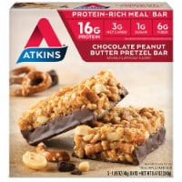 Atkins Advantage Protein-Rich Chocolate Peanut Butter Pretzel Meal Bars 5 Count