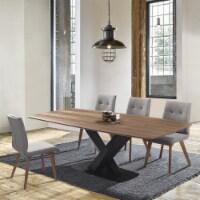 Noble Mid-Century Walnut Wood 5 Piece Dining Set - 1