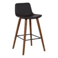 Armen Living Maddie 25.5 H Faux Leather Counter Stool in Walnut and Brown - 1