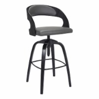 Abby Contemporary Adjustable Barstool in Black Brushed Wood Finish and Grey Faux Leather - 1