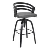 Kiara Contemporary Adjustable Barstool in Black Brushed Wood Finish and Grey Faux Leather - 1