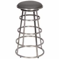 Armen Living Ringo 30  Backless Brushed Stainless Steel Barstool in Gray Faux Leather - 1