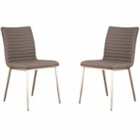 Caf Brushed Stainless Steel Dining Chair in Gray Faux Leather with Walnut Back - Set of 2 - 1
