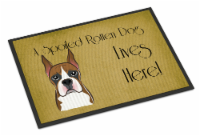 Boxer Spoiled Dog Lives Here Indoor or Outdoor Mat 18x27 - 18Hx27W