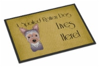 Yorkie Puppy Spoiled Dog Lives Here Indoor or Outdoor Mat 18x27