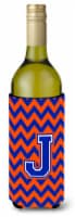 Letter J Chevron Orange and Blue Wine Bottle Beverage Insulator Hugger - 750 ml