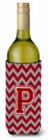 Letter P Chevron Maroon and White Wine Bottle Beverage Insulator Hugger - 750 ml