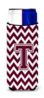 Letter T Chevron Maroon and White  Ultra Beverage Insulators for slim cans - Slim Can