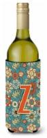 Letter Z Flowers Retro Blue Wine Bottle Beverage Insulator Hugger - 750 ml
