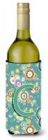 Letter C Circle Circle Teal Initial Alphabet Wine Bottle Beverage Insulator Hugg - 750 ml