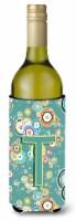 Letter T Circle Circle Teal Initial Alphabet Wine Bottle Beverage Insulator Hugg