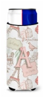 Letter A Love in Paris Pink Ultra Beverage Insulators for slim cans - Slim Can