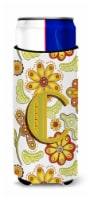 Letter C Floral Mustard and Green Ultra Beverage Insulators for slim cans - Slim Can