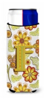 Letter F Floral Mustard and Green Ultra Beverage Insulators for slim cans - Slim Can