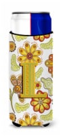 Letter L Floral Mustard and Green Ultra Beverage Insulators for slim cans - Slim Can