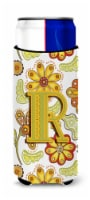Letter R Floral Mustard and Green Ultra Beverage Insulators for slim cans - Slim Can