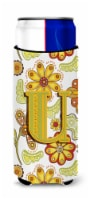 Letter U Floral Mustard and Green Ultra Beverage Insulators for slim cans - Slim Can