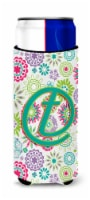 Letter T Flowers Pink Teal Green Initial Ultra Beverage Insulators for slim cans - Slim Can