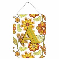 Letter A Floral Mustard and Green Wall or Door Hanging Prints - 16HX12W