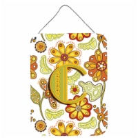 Letter C Floral Mustard and Green Wall or Door Hanging Prints - 16HX12W
