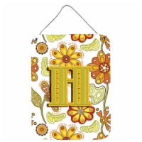 Letter H Floral Mustard and Green Wall or Door Hanging Prints - 16HX12W