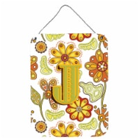 Letter J Floral Mustard and Green Wall or Door Hanging Prints - 16HX12W