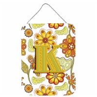 Letter K Floral Mustard and Green Wall or Door Hanging Prints - 16HX12W