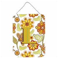 Letter L Floral Mustard and Green Wall or Door Hanging Prints - 16HX12W