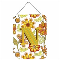 Letter N Floral Mustard and Green Wall or Door Hanging Prints - 16HX12W
