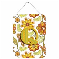 Letter Q Floral Mustard and Green Wall or Door Hanging Prints - 16HX12W