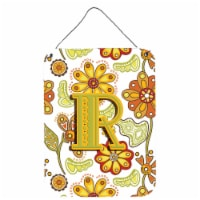 Letter R Floral Mustard and Green Wall or Door Hanging Prints - 16HX12W