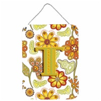 Letter T Floral Mustard and Green Wall or Door Hanging Prints - 16HX12W