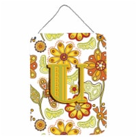Letter U Floral Mustard and Green Wall or Door Hanging Prints - 16HX12W