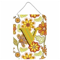 Letter V Floral Mustard and Green Wall or Door Hanging Prints - 16HX12W
