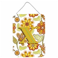 Letter X Floral Mustard and Green Wall or Door Hanging Prints - 16HX12W