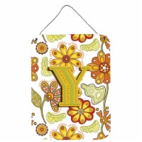 Letter Y Floral Mustard and Green Wall or Door Hanging Prints - 16HX12W